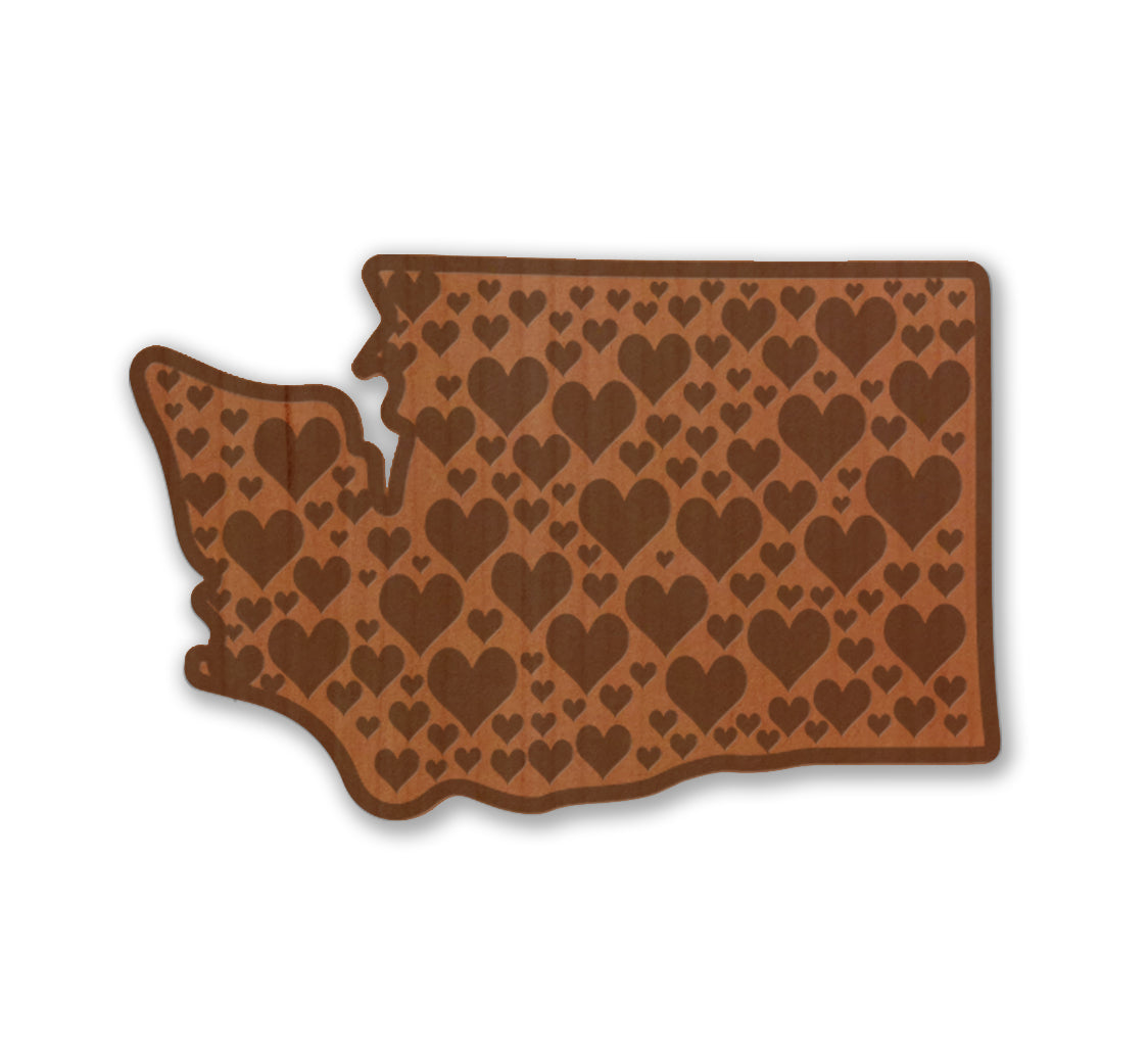 WA Hearts Real Wood Sticker