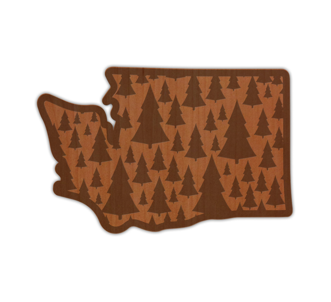 Trees in WA Real Wood Sticker