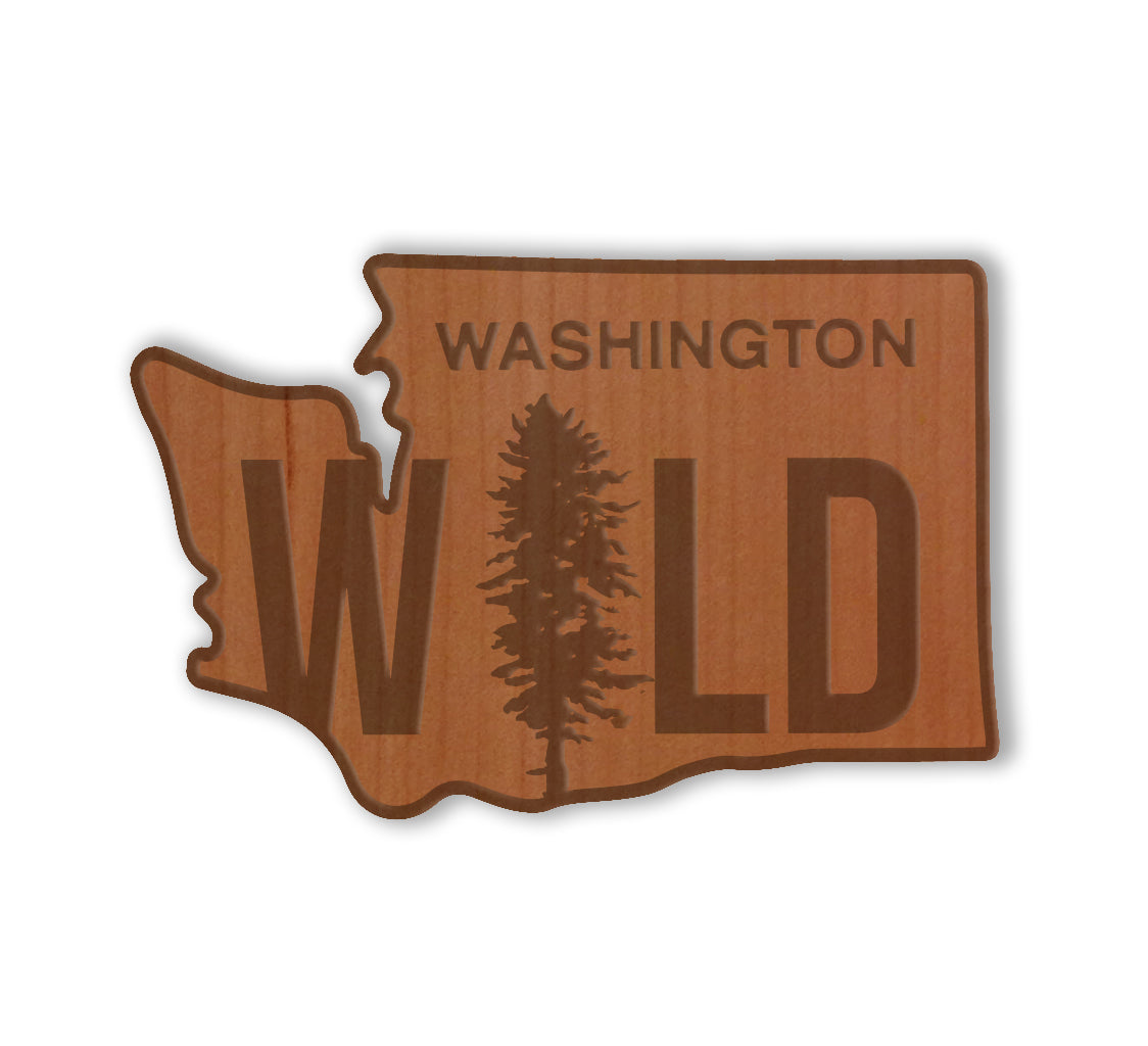 Wild WA Real Wood Sticker