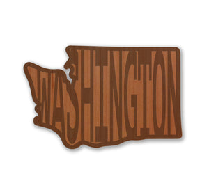 Washington in WA Real Wood Sticker