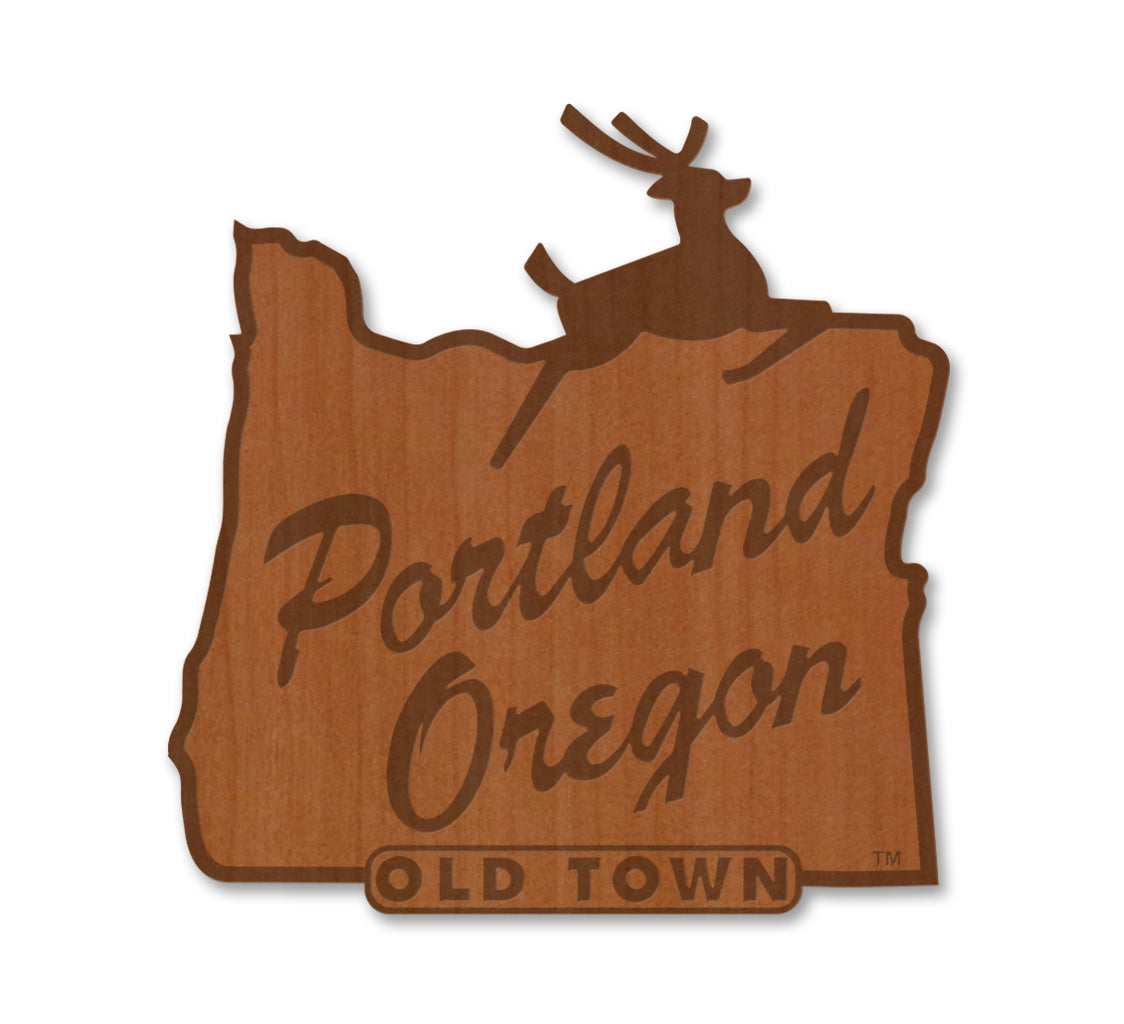 Portland Stag Sign Real Wood Sticker