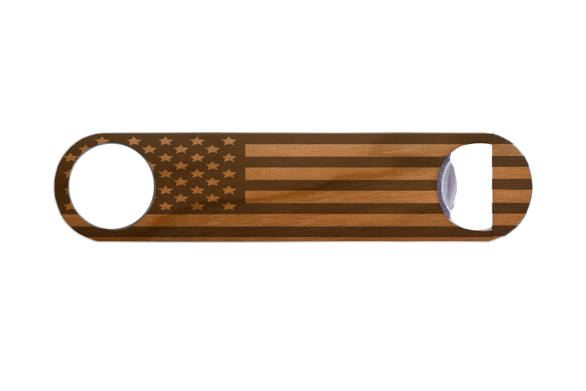 American Flag Wood Bottle Opener