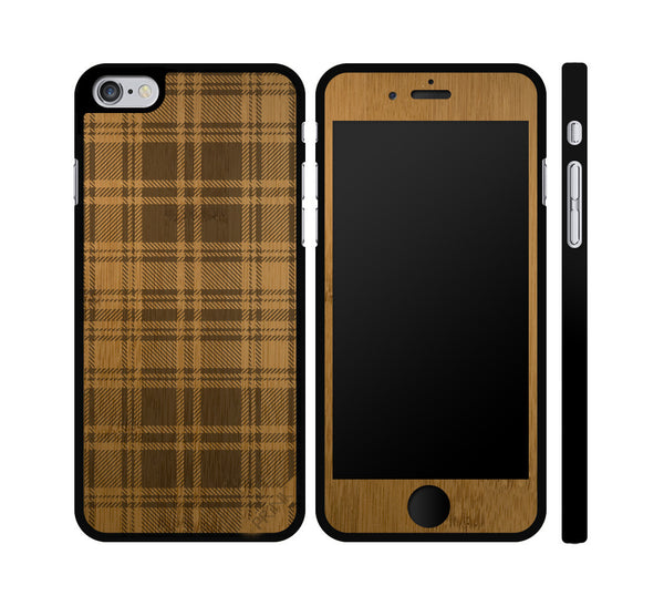 Plaid Pattern Wood iPhone or Galaxy Case