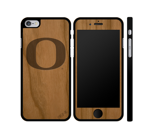 """University of Oregon 'O'"" - cherry wood iPhone case"