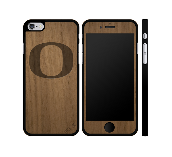 """University of Oregon 'O'"" - walnut wood iPhone case"