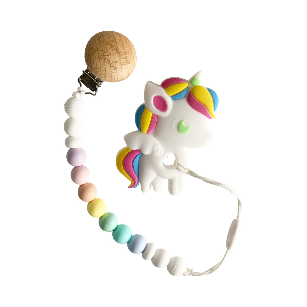 Pacifier Clip & Teether - Unicorn