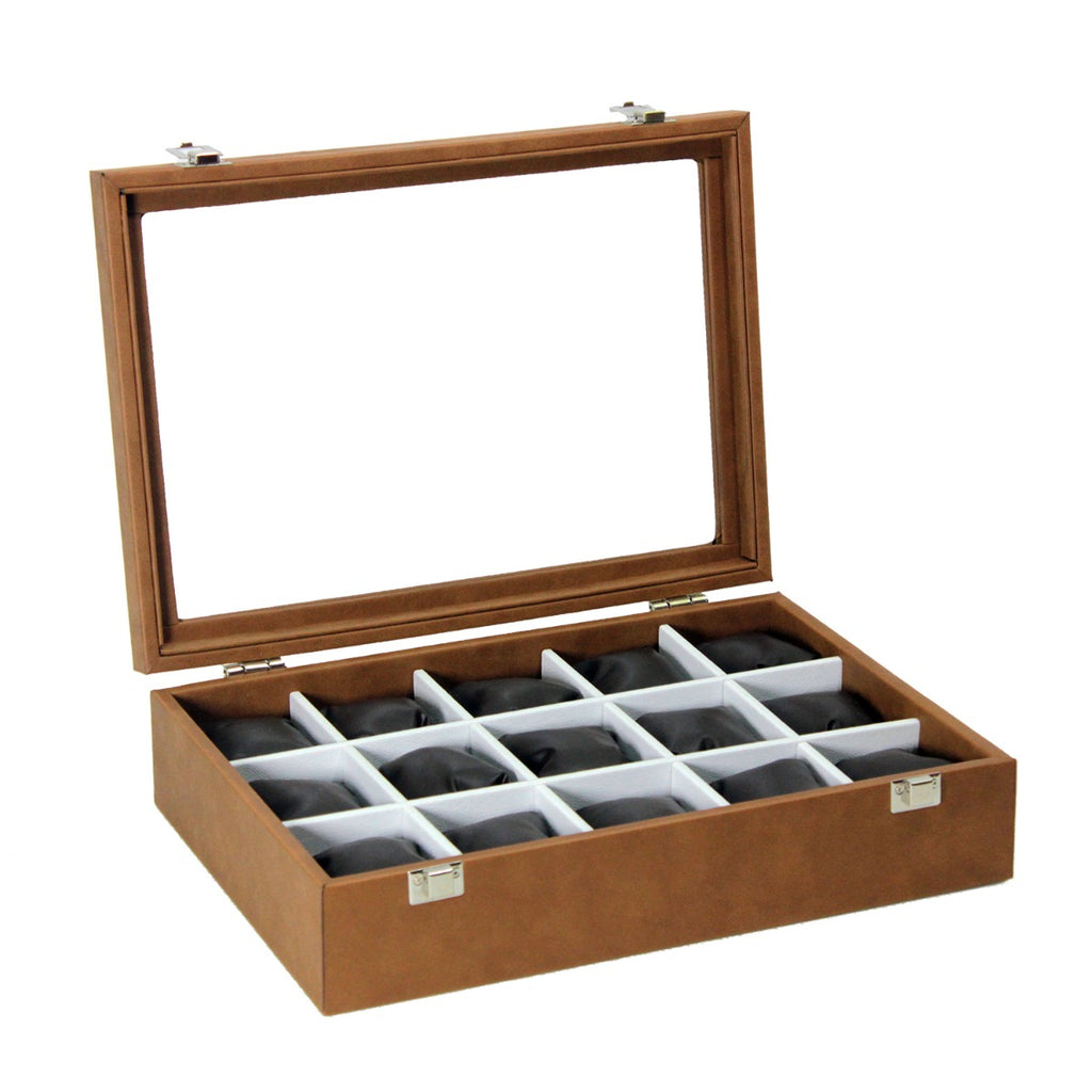 Dama Stile SKH62, 15 Watches Box With Glass Top Lid