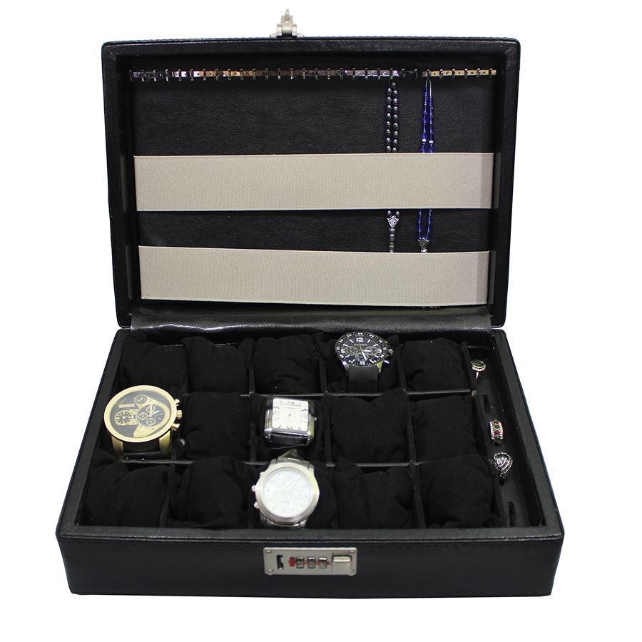 Dama Stile SKH26,  Crocodile Leather 15 Watches, 6 Rings Box