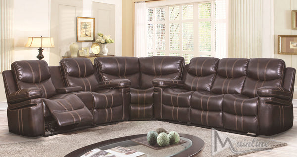 Samba Leather 3 Piece Motion Sectional Recliner Set - Espresso