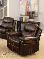 Samba Leather 3 Piece Motion Sofa loveseat Recliner Set - Espresso