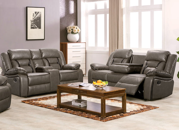Leather Gel Upholstery Duo Design Recliner Sofa Set Grey 2 PC