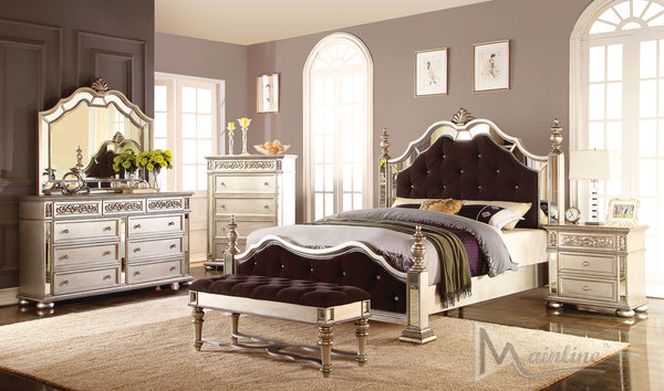 Bijoux Neo-classical bed w/ mirror rims and tufting