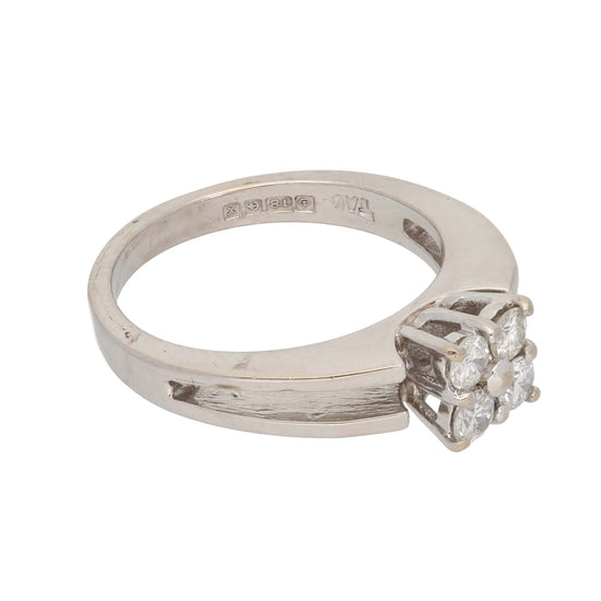 18ct White Gold Diamond Ladies Cluster Ring Size M