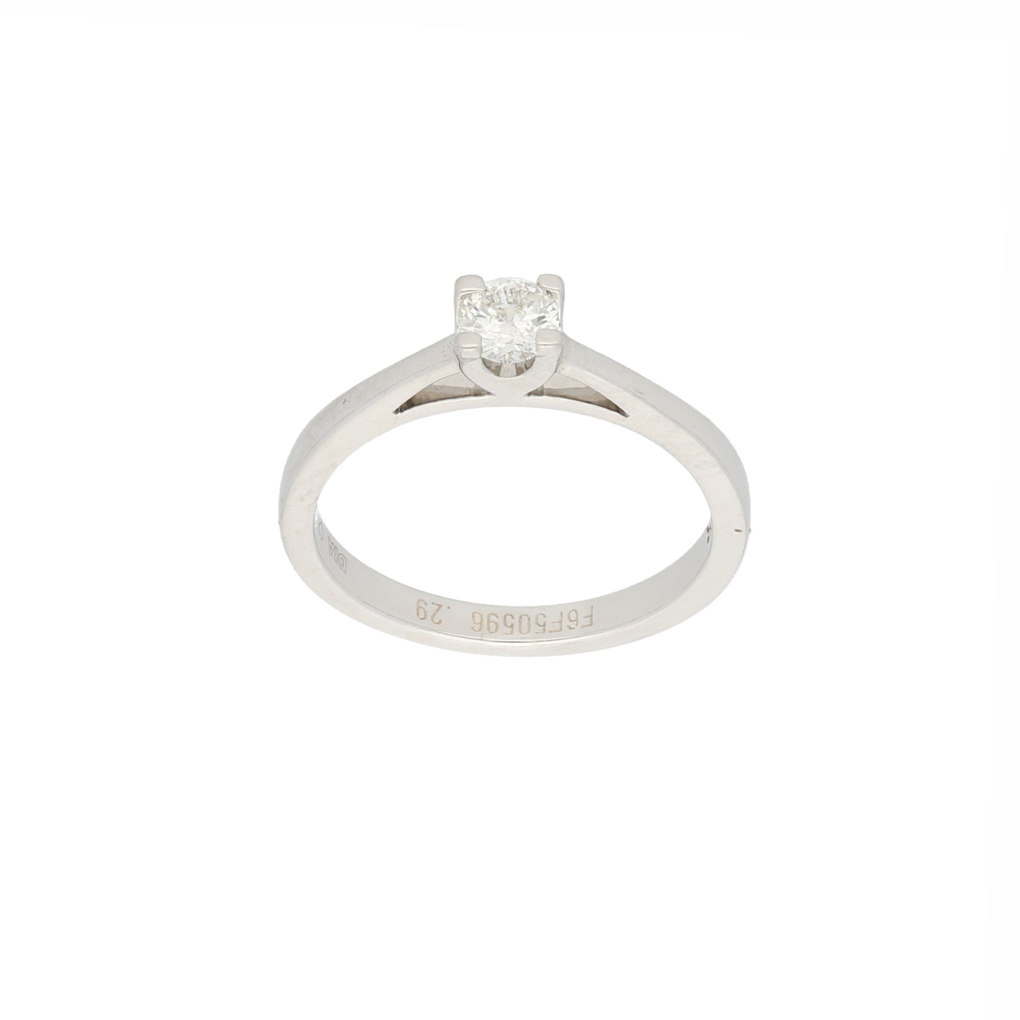 18ct White Gold Diamond Ladies Solitaire Ring Size M