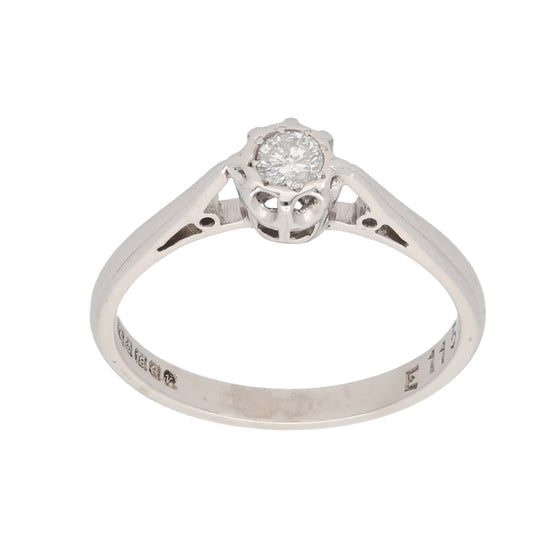 18ct White Gold 0.15ct Round Cut Diamond Ladies Solitaire Ring Size N