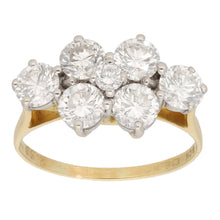 Load image into Gallery viewer, 18ct Gold 0.43ct Round Cut Diamond & 0.10ct Round Cut Diamond Ladies Cluster Ring Size P