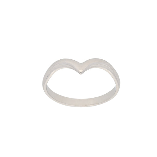 9ct White Gold Ladies Wishbone Ring Size S