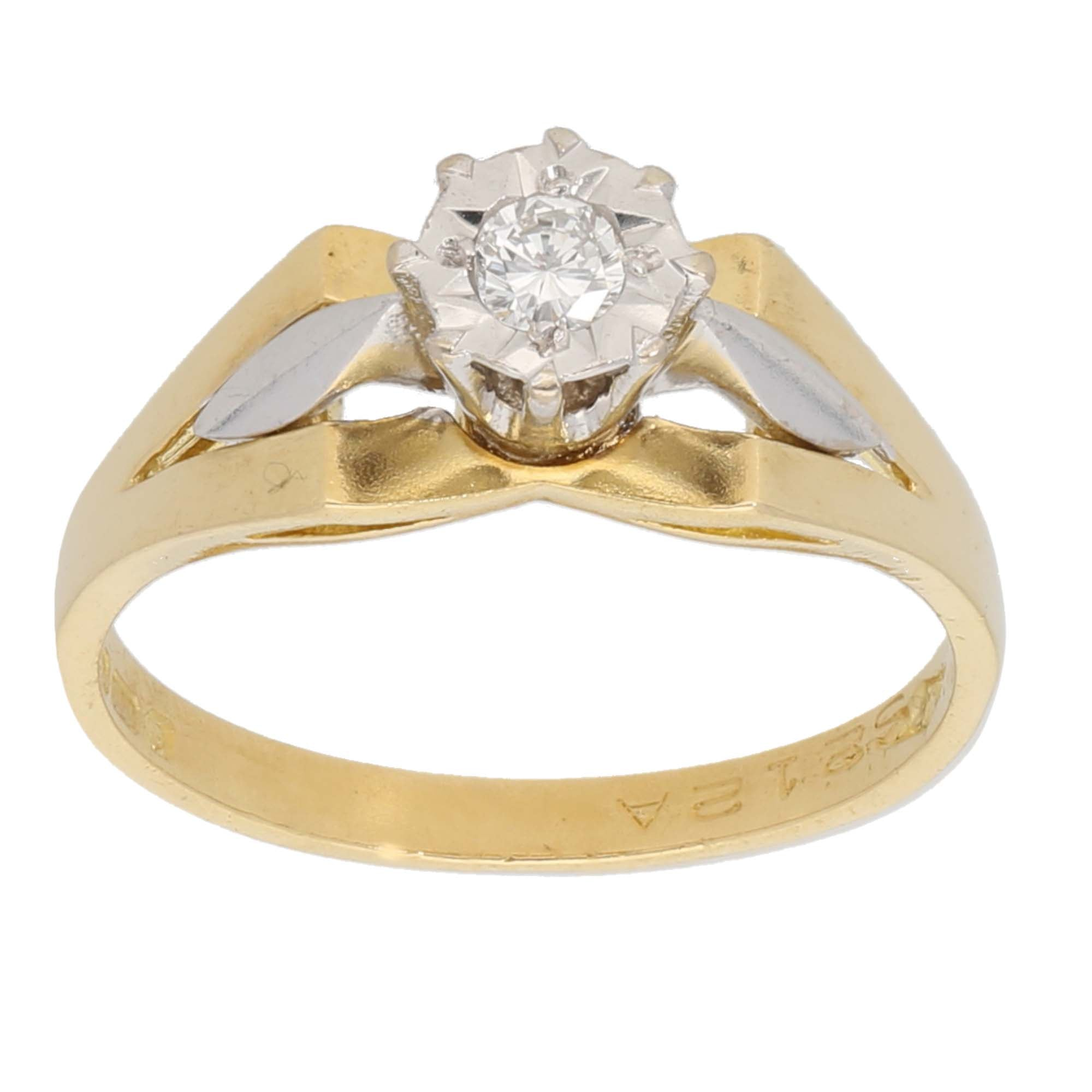 18ct Gold 0.10ct Round Cut Diamond Ladies Solitaire Ring Size M