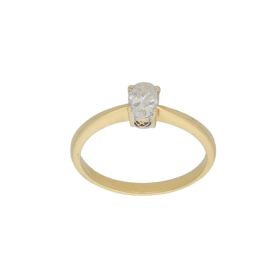 18ct Gold Diamond Ladies Solitaire Ring Size T