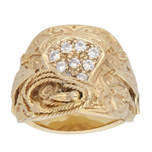 Load image into Gallery viewer, 9ct Gold Cubic Zirconia Ladies Saddle Ring Size Y