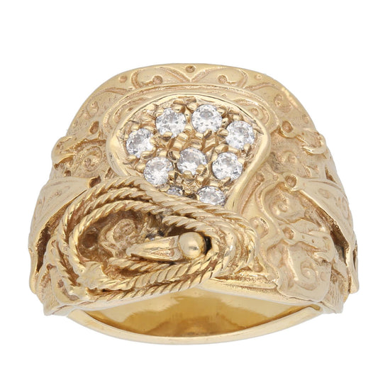 9ct Gold Cubic Zirconia Ladies Saddle Ring Size Y