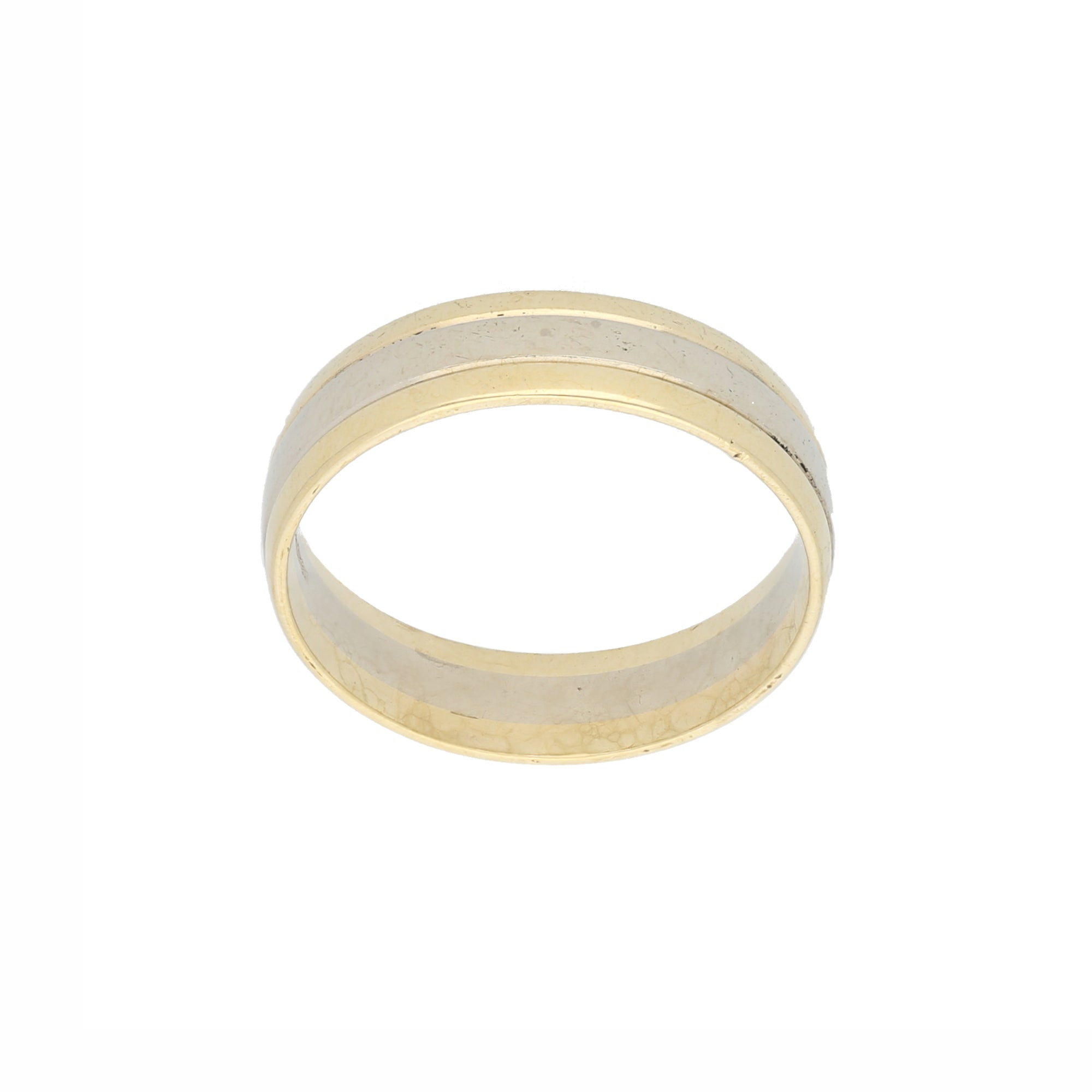 9ct Bicolour Gold Mens Plain Wedding Ring Size X