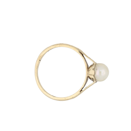 9ct Gold Cultured Pearl Ladies Solitaire Ring Size L