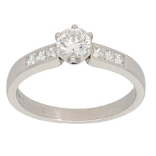 Load image into Gallery viewer, Platinum Ladies Solitaire Ring With Accent Stones Size M