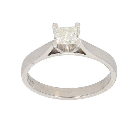 18ct White Gold 0.35ct Square Cut Diamond Ladies Solitaire Ring Size K