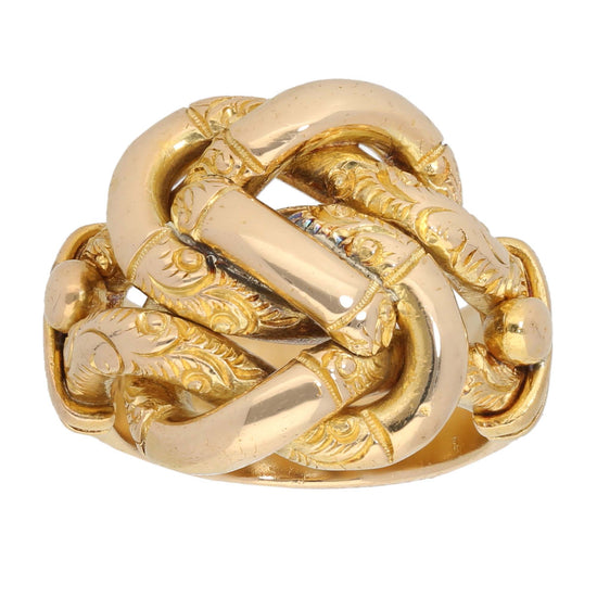 18ct Gold Ladies Knot Ring Size P