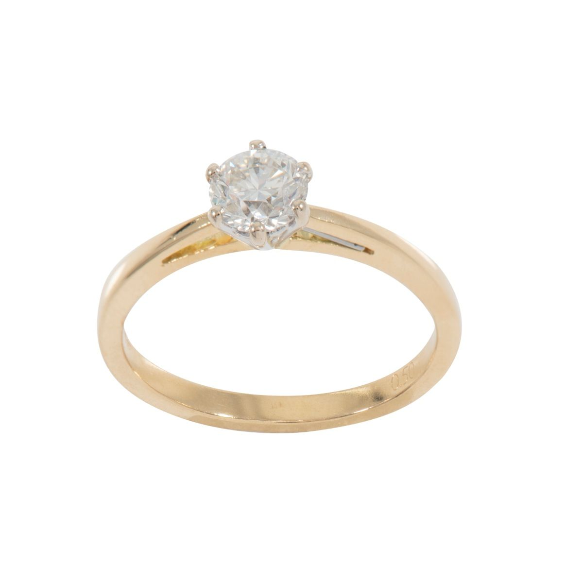 18ct Yellow Gold 0.50ct Round Brilliant Cut Diamond Solitaire Ring Ladies Size L
