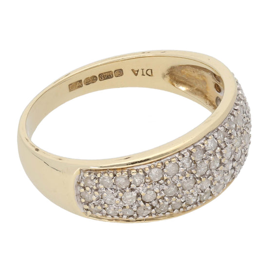 9ct Gold 0.01ct Round Cut Diamond Ladies Cluster Ring Size P