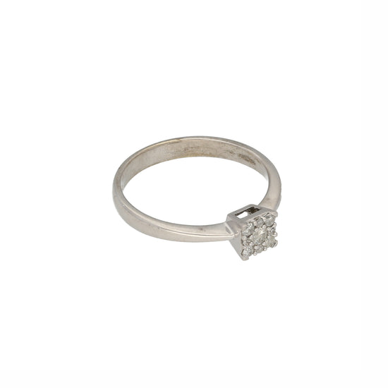 9ct White Gold Diamond Ladies Cluster Ring Size M