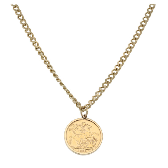 9ct Gold Ladies Coin Pendant With Chain
