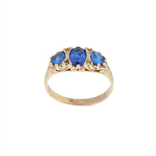 Load image into Gallery viewer, 9ct Gold Imitation Ladies Three Stone Ring Size Q