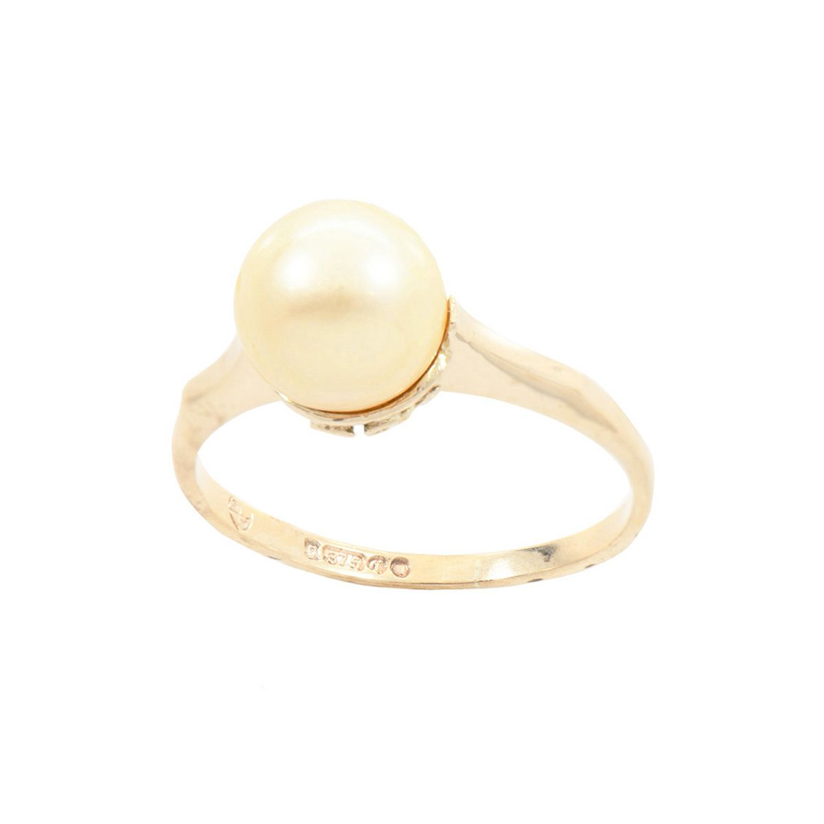 9ct Yellow Gold Cultured Pearl Solitaire Ring Ladies Size N