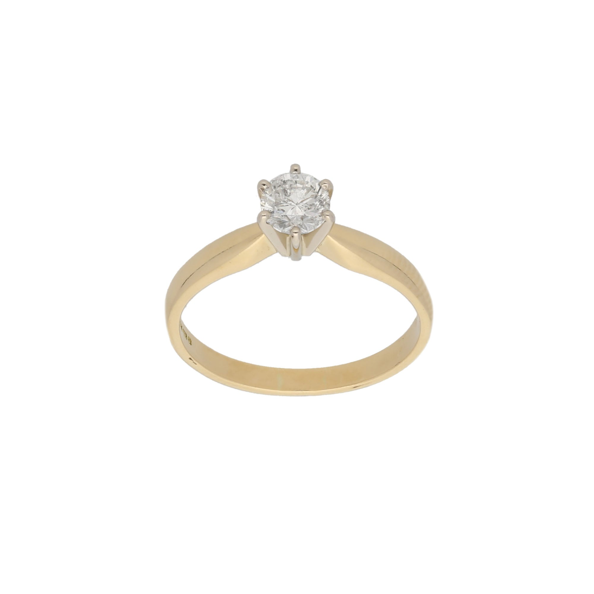 18ct Gold Diamond Ladies Solitaire Ring Size N