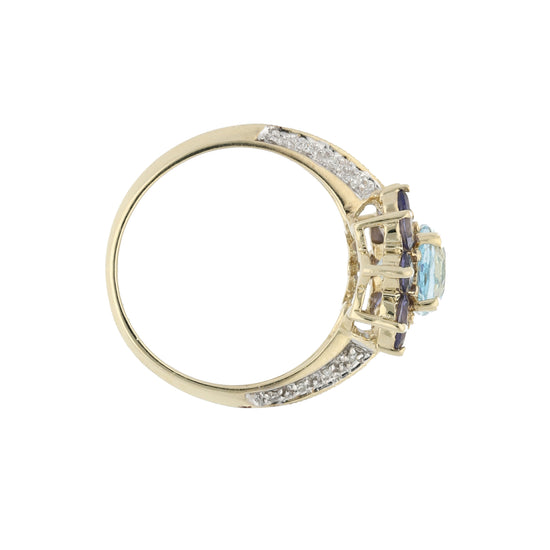 9ct Gold Iolite, Topaz & Diamond Ladies Cluster Ring Size P