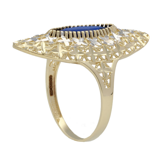 14ct Bicolour Gold Ladies Dress Cocktail Ring Size U
