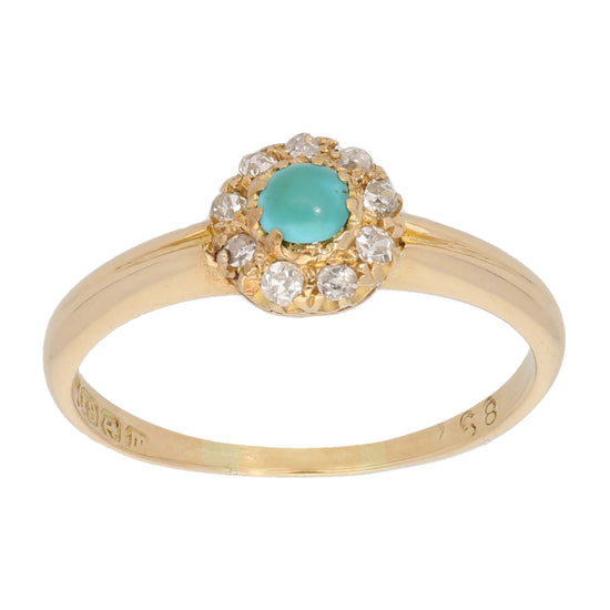 18ct Gold 0.02ct Round Cut Diamond & Turquoise Ladies Dress/Cocktail Ring Size R