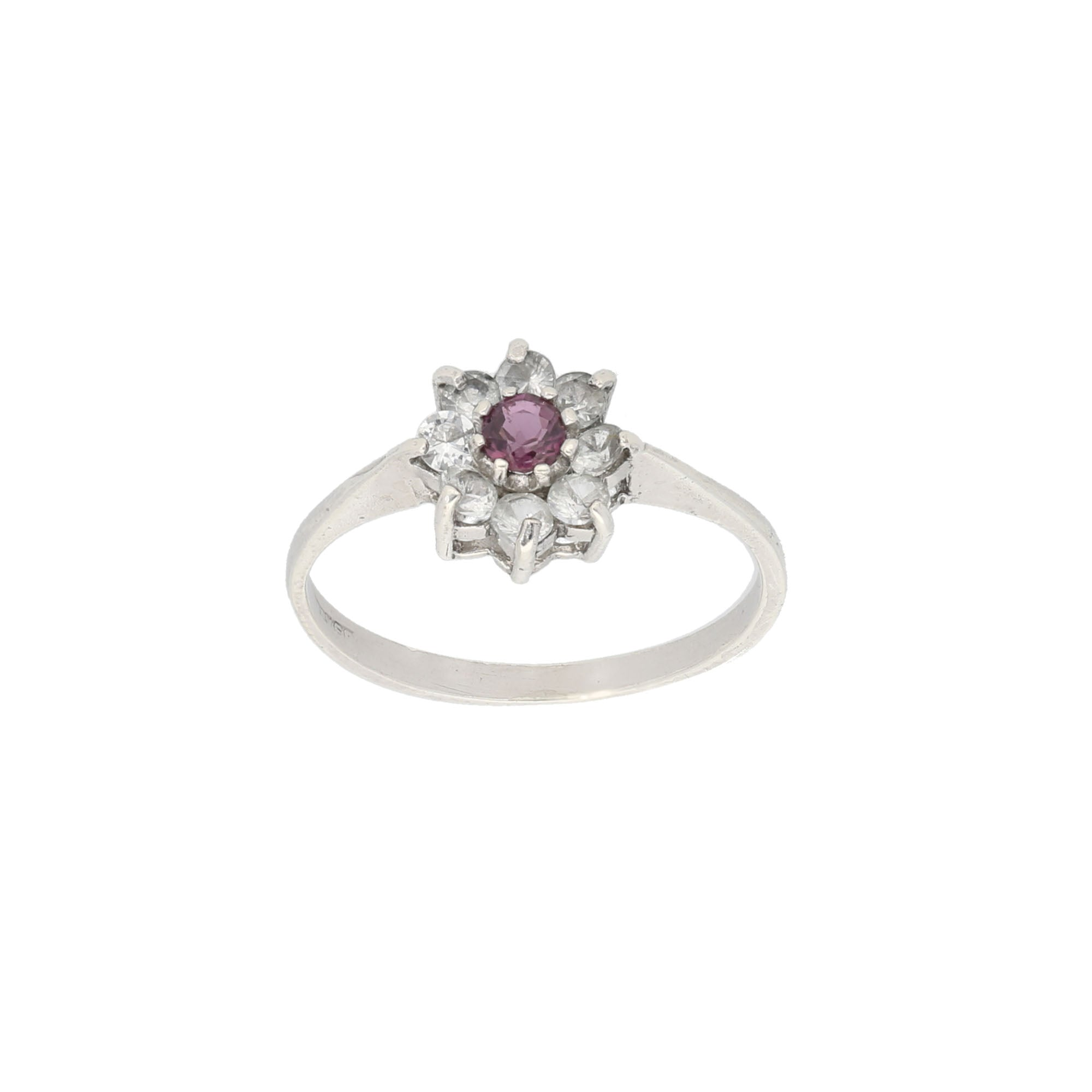 Silver Sterling Ruby & Cubic Zirconia Ladies Dress Cocktail Ring Size N
