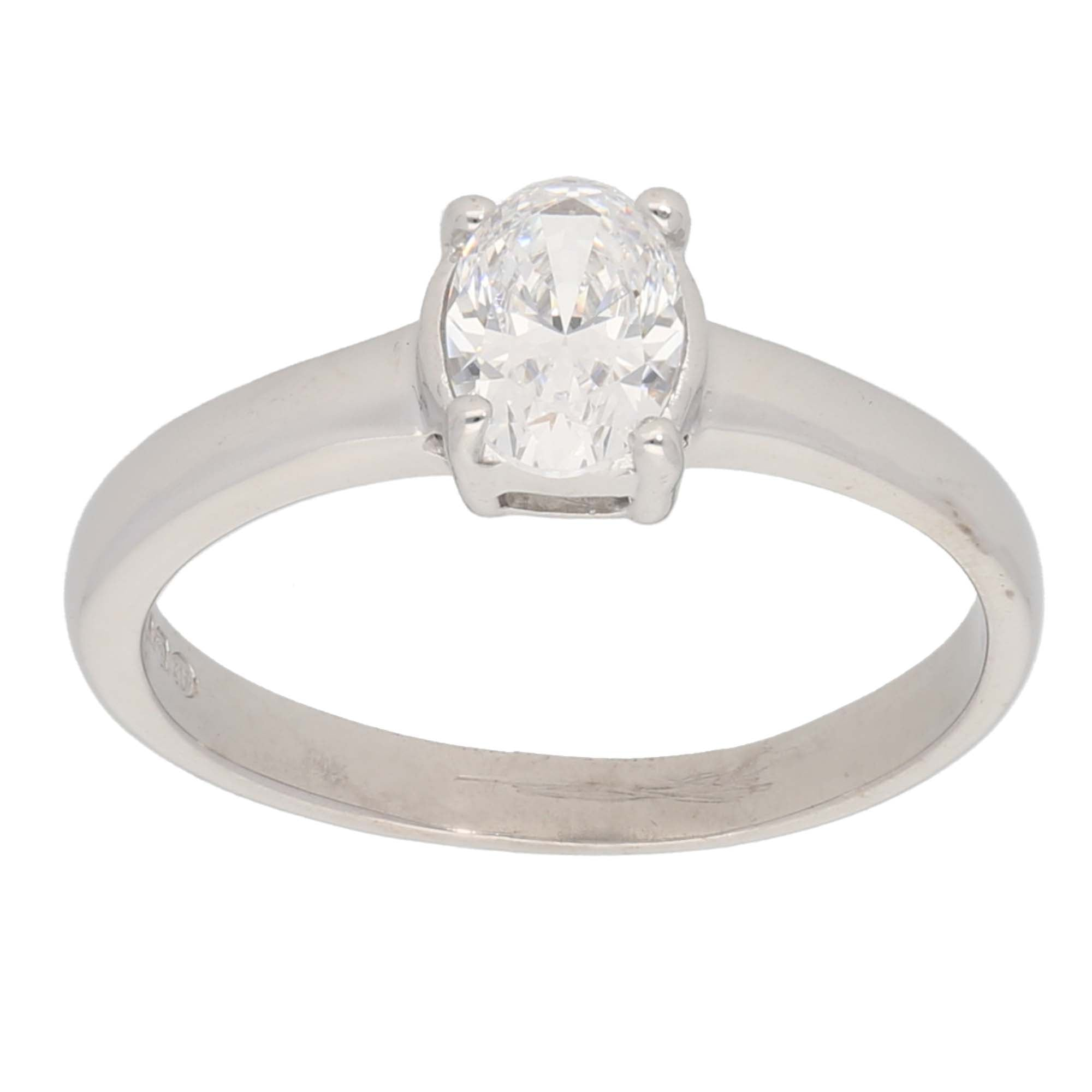 18ct White Gold Cubic Zirconia Ladies Solitaire Ring Size P
