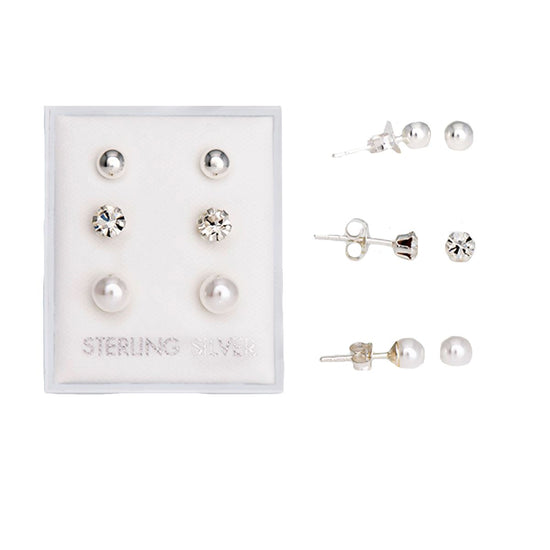 Silver Set Of 3 Stud Earring Set Ball, Cubic Zirconia & Pearl