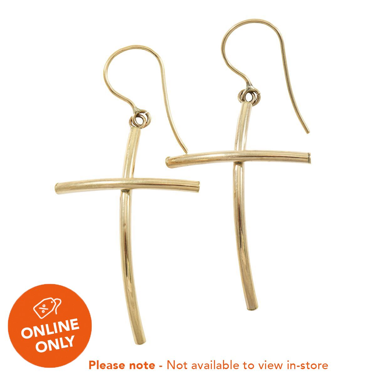 9ct Yellow Gold Cross Drop Ladies Earrings