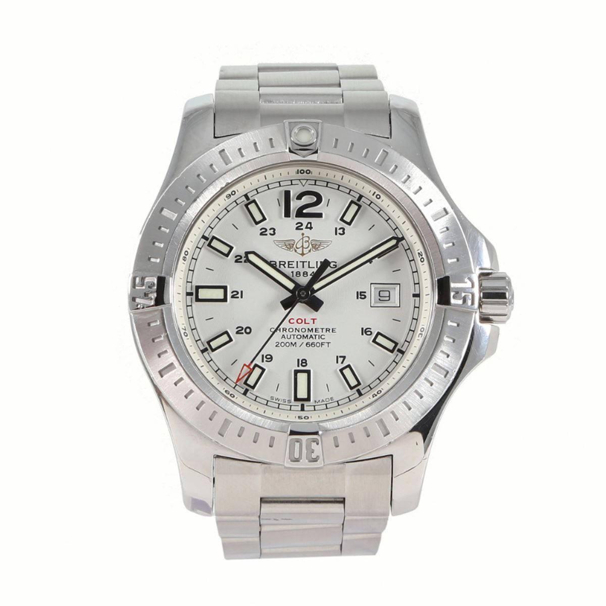 Breitling Colt A17388 Steel & White 44mm Mens Watch