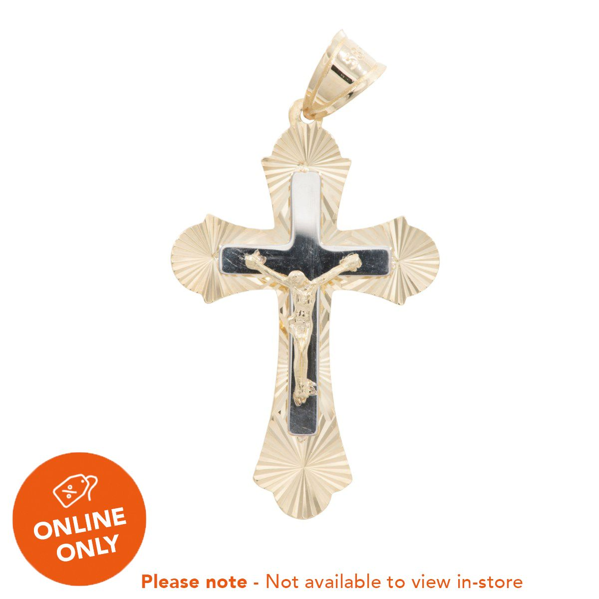 14ct Bi-Colour Gold New Crucifix Ladies 40mm
