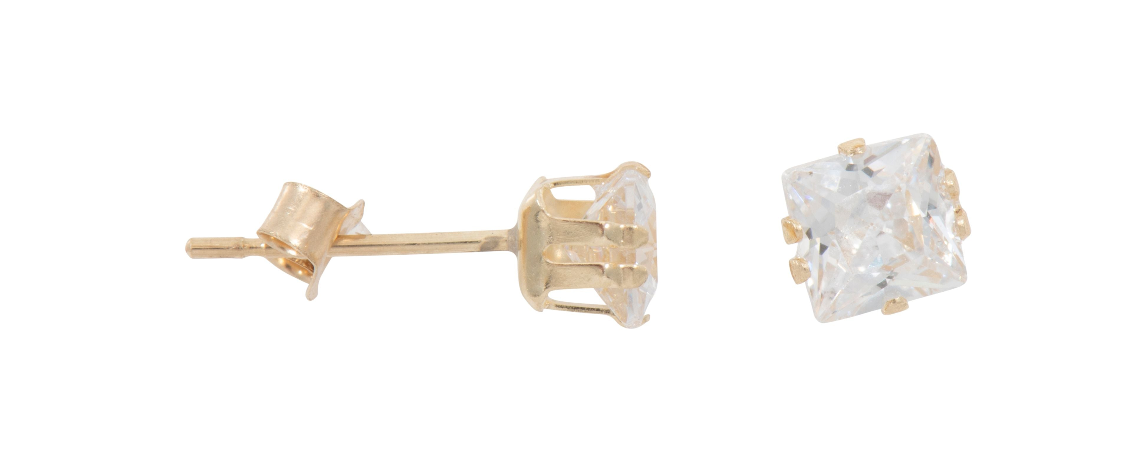 9ct Yellow Gold Ladies Cubic Zirconia Stud Earrings 3mm