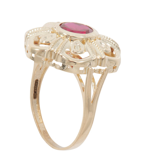 14ct Yellow Gold Ladies Dress Cocktail Ring Size T