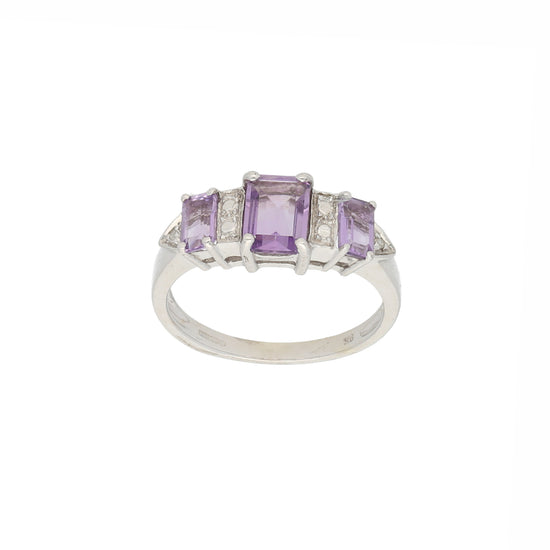 9ct White Gold Amethyst Ladies Cluster Ring Size N
