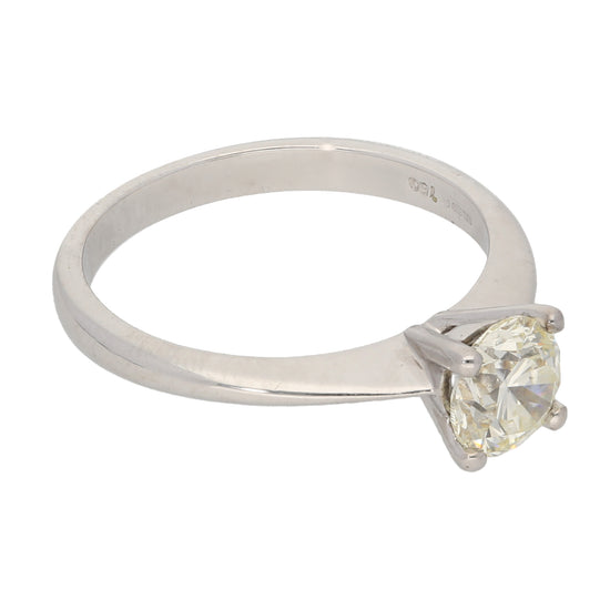 18ct White Gold 0.87ct Round Cut Diamond Ladies Solitaire Ring Size N